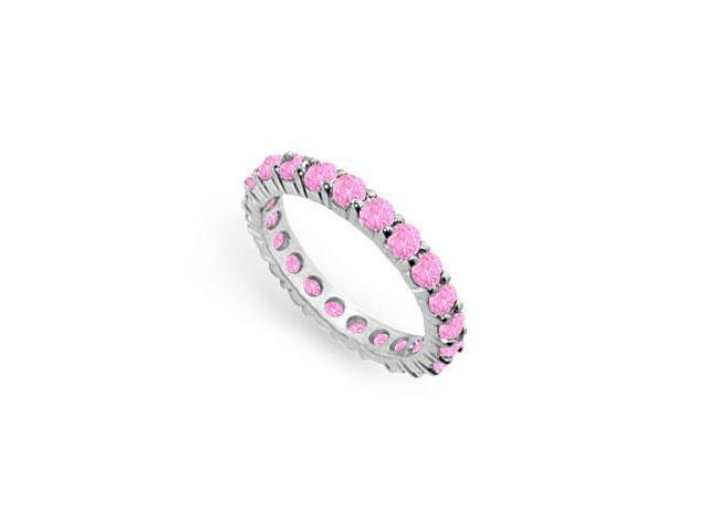 Created Pink Sapphire Eternity Ring Stackable Band Sterling Silver. 2ct.tw.