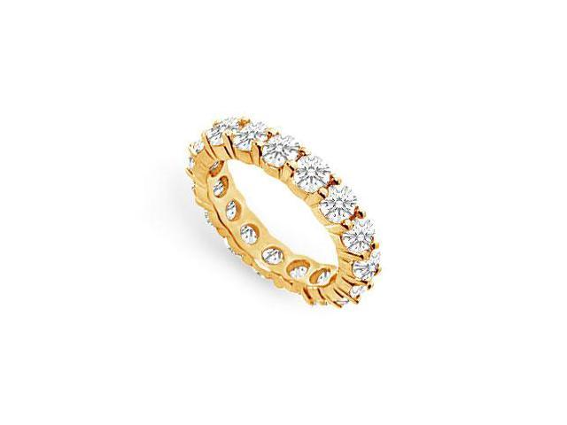 4 Carat Eternity Band Prong Set AAA CZ in 18K Yellow Gold Vermeil Silver