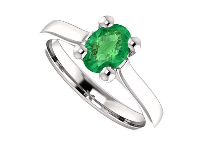 May Birthstone Created Emerald Engagement Rings in 14kt White Gold 1 CT TGW