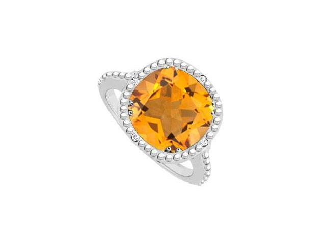 Sterling Silver Citrine and Cubic Zirconia Ring 2.05 CT TGW