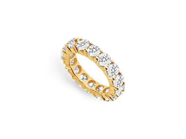 Eternity Wedding Band 5 Carat AAA CZ Prong Set in 18K Yellow Gold Vermeil Silver