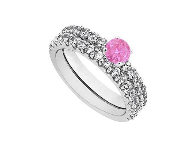 Pink Sapphire  Diamond Engagement Ring with Wedding Band Set 14K White Gold 1.50 CT TGW