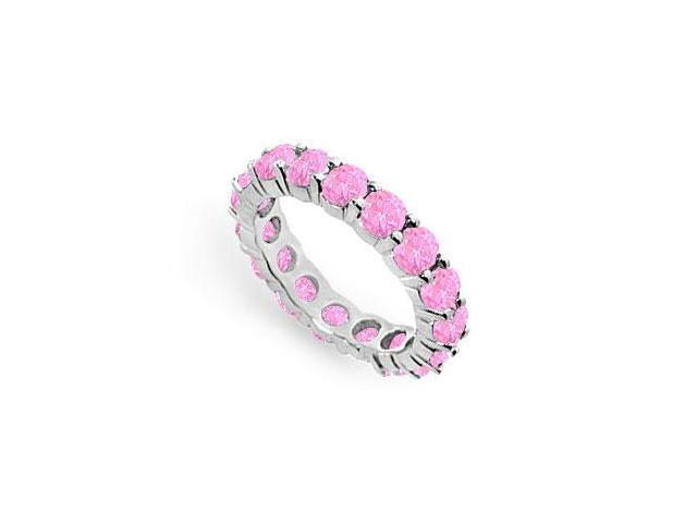 Created Pink Sapphire Eternity Ring Stackable Band Sterling Silver. 4ct.tw.