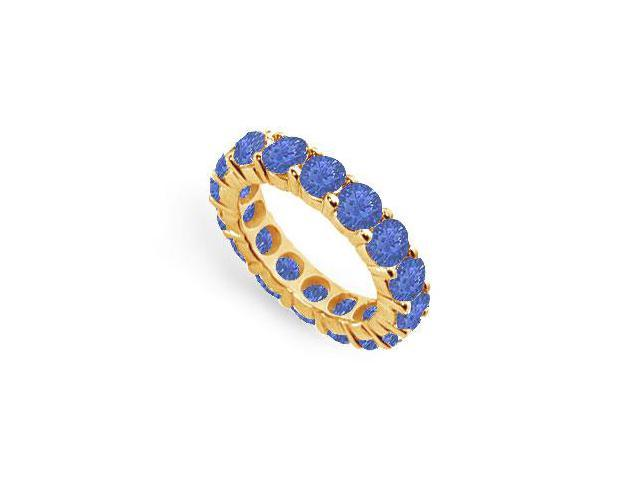 Blue Sapphire Created Eternity Ring in 18K Yellow Gold TGW.Seven Carat