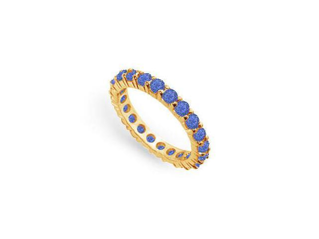 Two Carat Created Blue Sapphire Eternity Band in 18K Yellow Gold Vermeil
