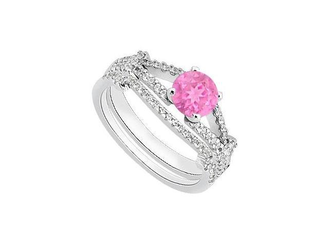 Diamond Bands with Pink Sapphire Engagement Ring Sets in 14K White Gold 1.25 Carat TGW