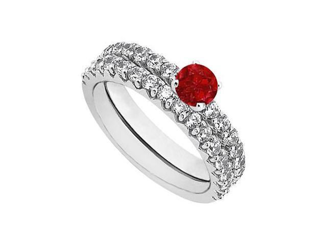 July Birthstone Ruby  Diamond Engagement Ring with Wedding Band Set 14K White Gold 1.50 CT TGW