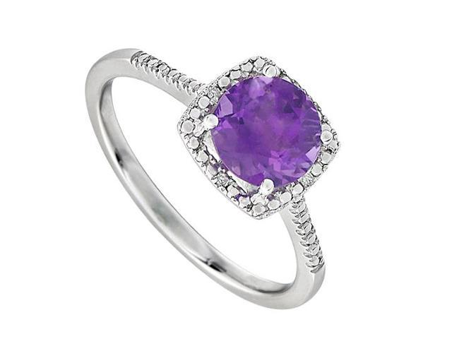 February Birthstone Amethyst and Diamond Engagement Rings 925 Sterling Silver 1.50 CT TGW