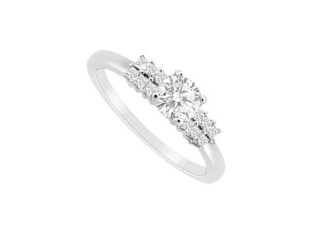 Engagement Ring with Princess Cut CZ in 14K White Gold 0.75 Carat Total Gem Weight