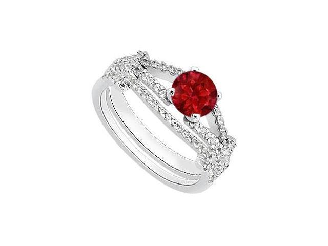 Natural Ruby Engagement Ring with Diamond Wedding Rings in 14K White Gold 1.25 Carat TGW