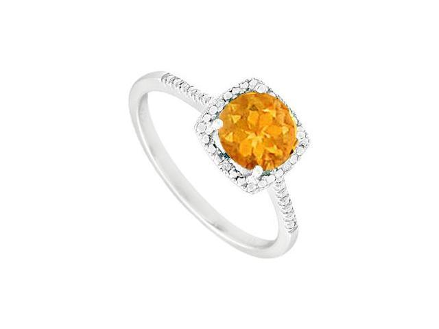 November Birthstone Citrine and Diamond Engagement Rings 925 Sterling Silver 1.50 CT TGW