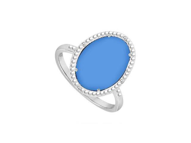 Sterling Silver Blue Chalcedony and Cubic Zirconia Ring 15.08 CT TGW