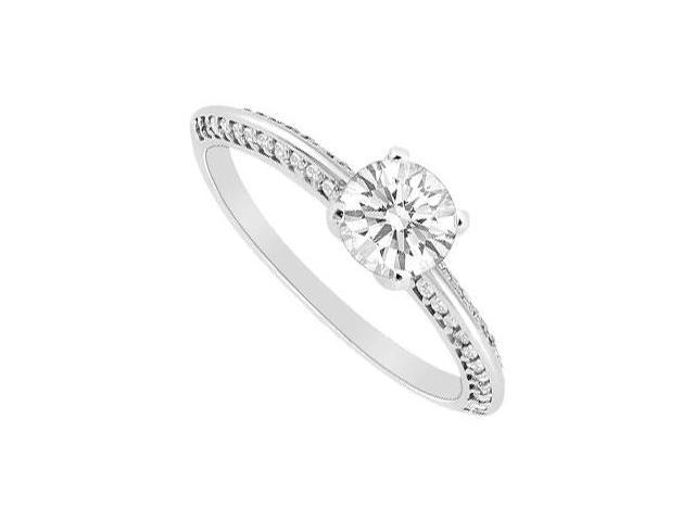 Engagement Ring in White Gold 14K with 0.75 Carat Total Gem Weight