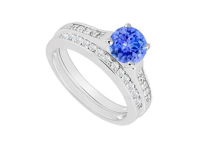 14K White Gold  Tanzanite and Diamond Engagement Ring with Wedding Band Set 0.75 CT TGW
