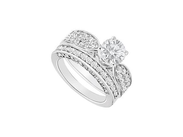 14K White Gold  Diamond Engagement Ring with Wedding Band Set 2.15 CT TDW