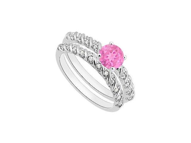 Pink Sapphire Engagement Ring with Diamond Wedding Rings in White Gold 14K 1.10 Carat TGW