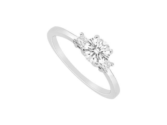 Three Stone Cubic Zirconia Engagement Ring in 14K White Gold 0.75 Carat Total Gem Weight