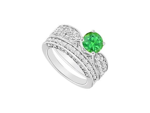 14K White Gold  Emerald and Diamond Engagement Ring with Wedding Band Set 2.15 CT TGW