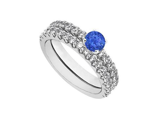 Sapphire  Diamond Engagement Ring with Wedding Band Set 14K White Gold 1.50 CT TGW