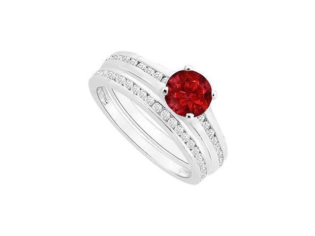 Ruby and Diamond Engagement Ring with Wedding Band Set  14K White Gold - 0.75 CT TGW