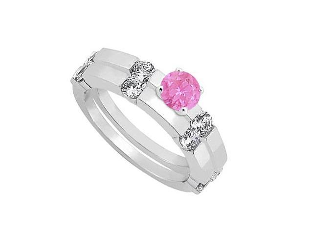 Pink Sapphire and Diamond Engagement Ring with Wedding Band Set 14K White Gold 1.30 CT TGW