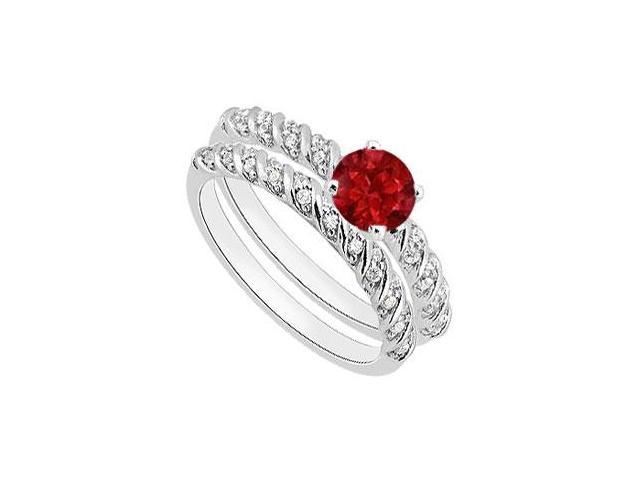 14K White Gold Natural Ruby Engagement Ring with Diamond Bands 1.10 Carat Total Gem Weight