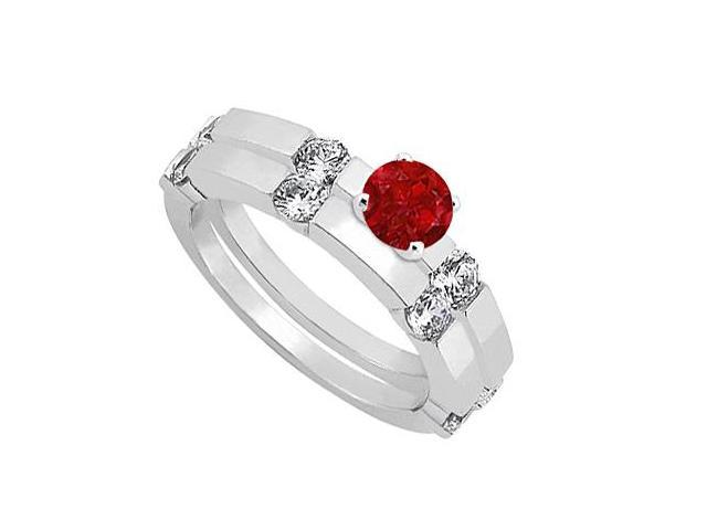Ruby and Diamond Engagement Ring with Wedding Band Set 14K White Gold 1.30 CT TGW