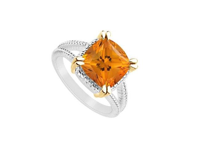 Citrine Ring with 6 Carat Total Gem Weight in Sterling Silver