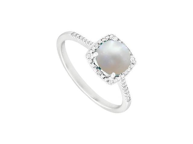 June Birthstone Pearl and Diamond Engagement Rings 925 Sterling Silver 1.50 CT TGW