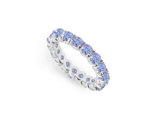 Created Tanzanite Eternity Ring Stackable Band Sterling Silver. 2ct.tw