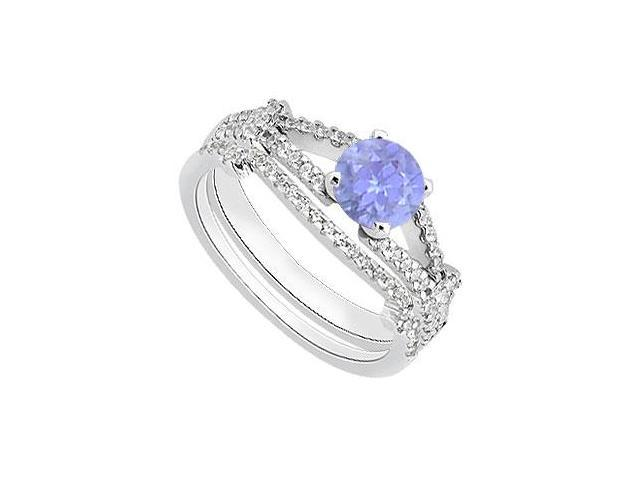 14K White Gold Wedding Band and Engagement Ring Set of Diamond and Tanzanite 1.25 Carat TGW