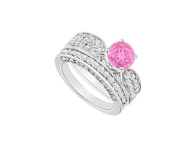 14K White Gold  Pink Sapphire and Diamond Engagement Ring with Wedding Band Set 2.15 CT TGW