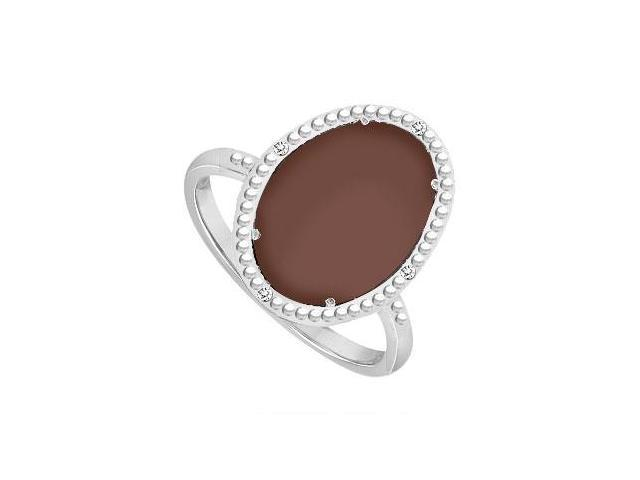 Sterling Silver Chocolate Chalcedony and Cubic Zirconia Ring 15.08 CT TGW