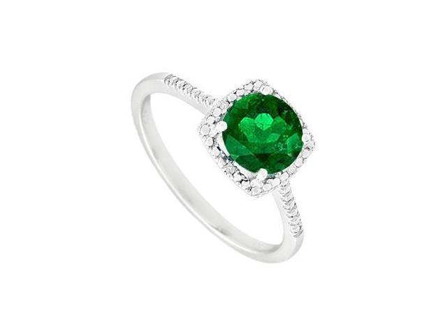 May Birthstone Created Emerald  Diamond Engagement Rings  in  925 Sterling Silver 1.50 CT TGW