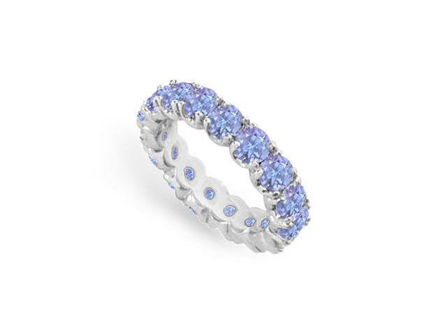Created Tanzanite Eternity Ring Stackable Band Sterling Silver. 4ct.tw