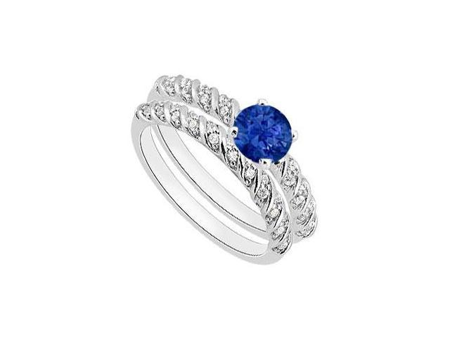 Blue Sapphire Engagement Ring with Diamond Wedding Ring in 14K White Gold 1.10 Carat TGW