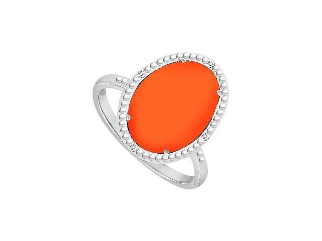 Sterling Silver Orange Chalcedony and Cubic Zirconia Ring 15.08 CT TGW