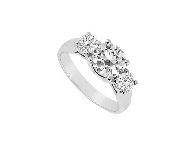 Three Stone Cubic Zirconia Ring 10K White Gold 2.50 CT TGW