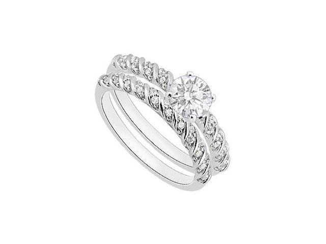 Diamond Engagement Ring with Wedding Band Sets in 14K White Gold 0.85 Carat Diamonds