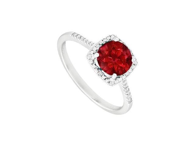 July Birthstone Created Ruby  Diamond Engagement Rings  in  925 Sterling Silver 1.50 CT TGW
