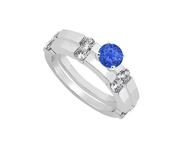 Sapphire and Diamond Engagement Ring with Wedding Band Set 14K White Gold 1.30 CT TGW