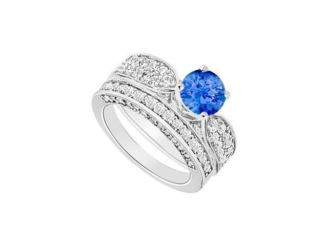 14K White Gold  Sapphire and Diamond Engagement Ring with Wedding Band Set 2.15 CT TGW