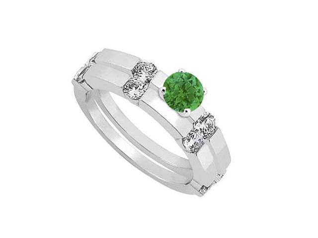 Emerald and Diamond Engagement Ring with Wedding Band Set 14K White Gold 1.30 CT TGW