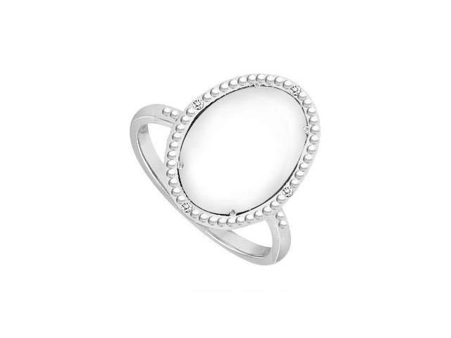 Sterling Silver White Agate and Cubic Zirconia Ring 15.08 CT TGW