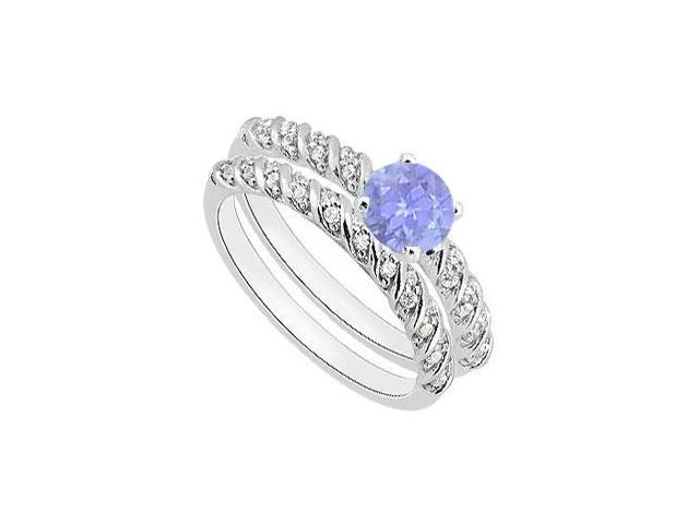 Tanzanite Engagement Ring with Diamond Bands in White Gold 14K 1.10 Carat Total Gem Weight