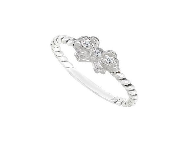 Sterling Silver Stackable Cubic Zirconia Bow Ring