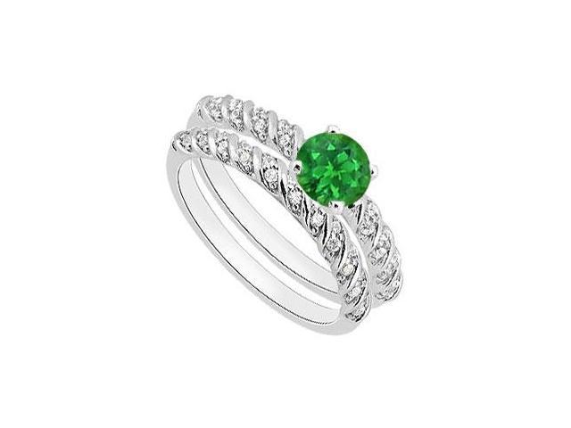 Natural Green Emerald Engagement Ring Sets of Diamond Bands in 14K White Gold 1.10 Carat TGW