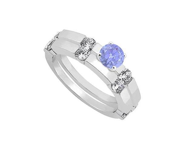 Tanzanite and Diamond Engagement Ring with Wedding Band Set 14K White Gold 1.30 CT TGW