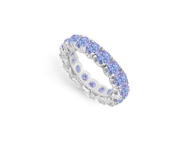 Created Tanzanite Eternity Ring Stackable Band Sterling Silver. 7ct.tw
