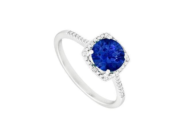 September Birthstone Sapphire and Diamond Engagement Rings 925 Sterling Silver 1.50 CT TGW